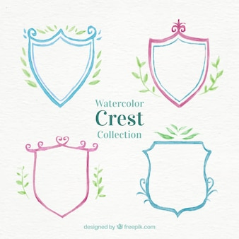 collection of watercolor crest with leaves decoration