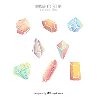 Collection of watercolor diamonds