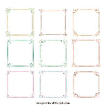 Collection of watercolor frames