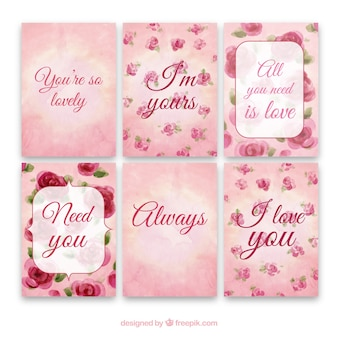 Collection of watercolor romantic card