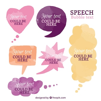 Collection of watercolor speech bubbles