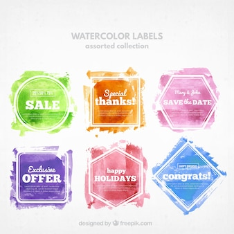 Collection of watercolor stickers with messages