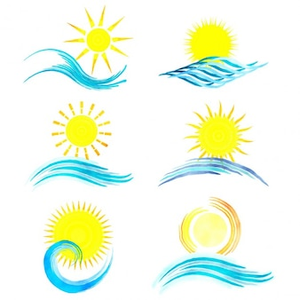Collection of watercolor styled summer icons
