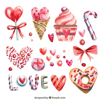 Collection of watercolor sweets for valentine's day