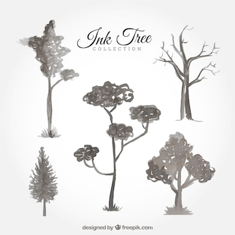 Collection of watercolor trees