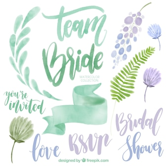 Collection of watercolor wedding elements in green and purple tones