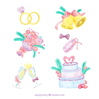Collection of watercolor wedding items