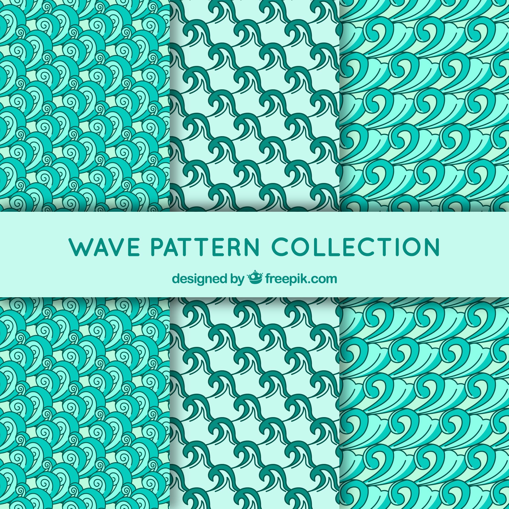 Collection of wave patterns in green tones
