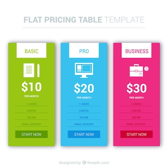 Collection of web pricing templates