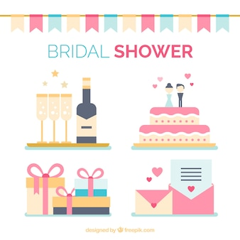 Collection of wedding elements in flat design