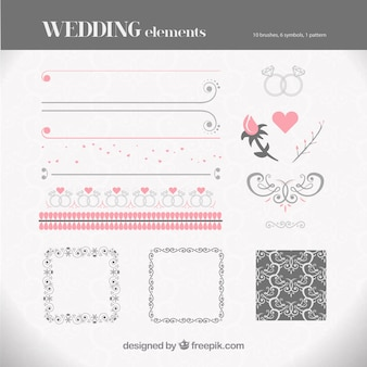 Collection of wedding elements in pastel colors