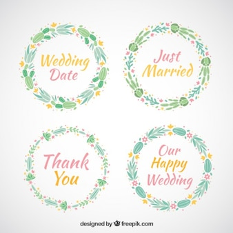 Collection of wedding floral wreaths with words