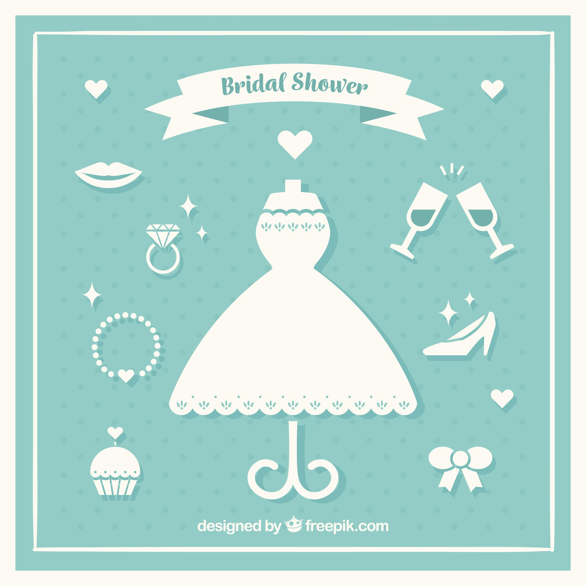 Collection of white bridal accessories in flat design