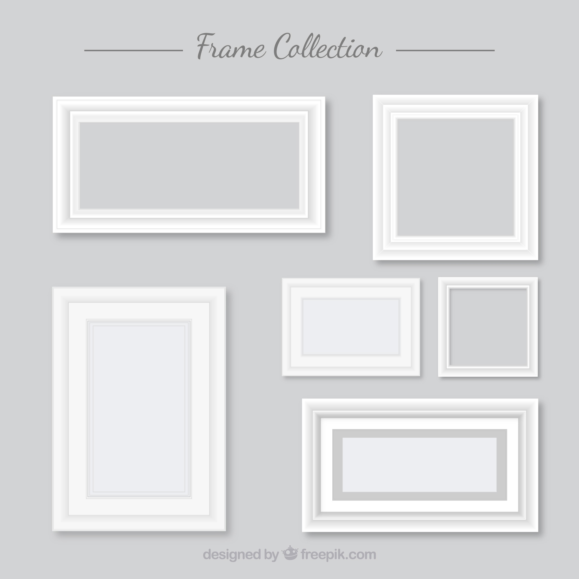 Collection of white frames in flat design