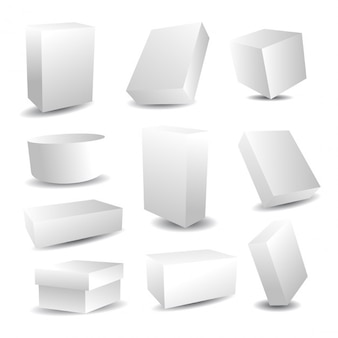 Collection of white packaging boxes