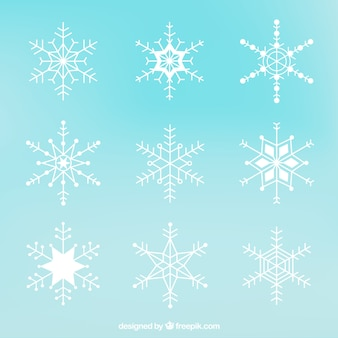 Collection of white snowflakes