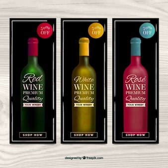 Collection of wine banners with discounts