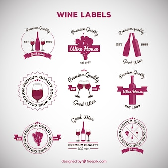 Collection of wine labels with flat design