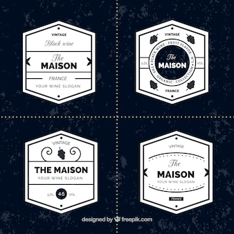 Collection of wine stickers in minimalist style