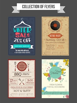 Collection of Winter Sale, Retro Night Music Party, Barbeque Party and Fresh Flowers flyers or templates design