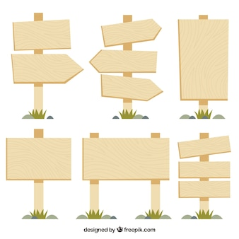 Collection of wood sign in flat design