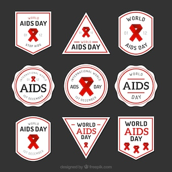 Collection of world AIDS day labels