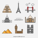Collection of world landmark with outline