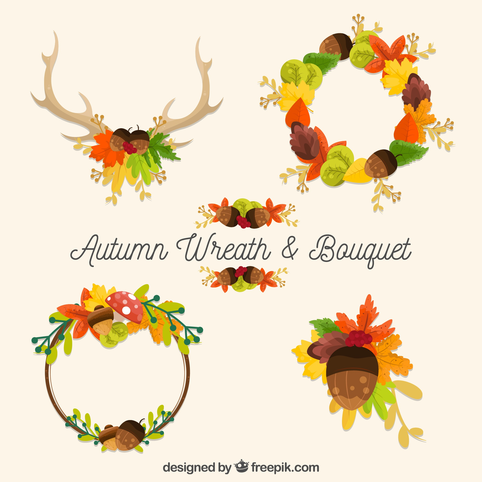 Collection of wreath and decorative elements of autumn