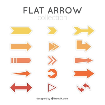 Collection of yellow and orange arrows in flat design