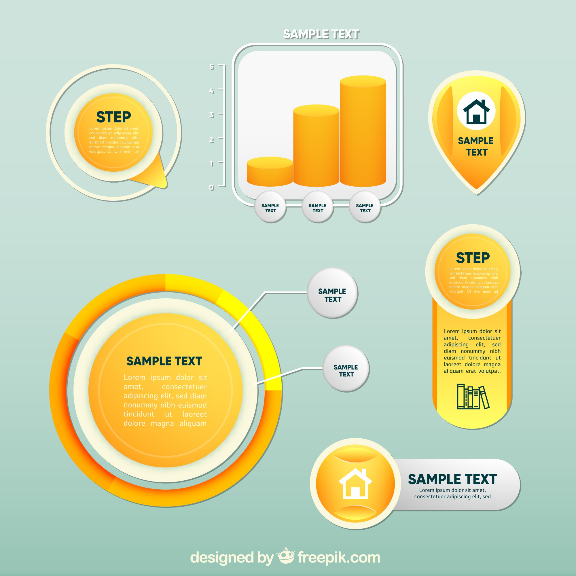 Collection of yellow infographic elements