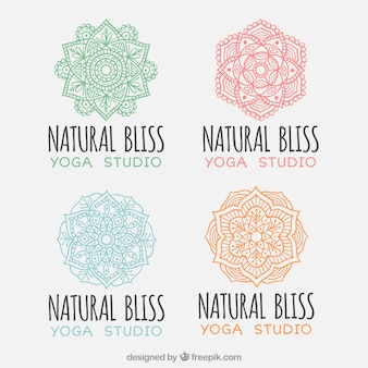 Collection of yoga logos with mandalas