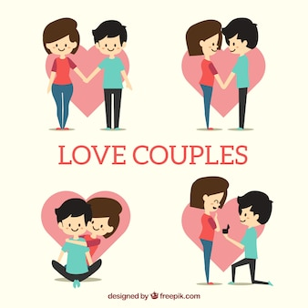Collection of young couple in love with heart background