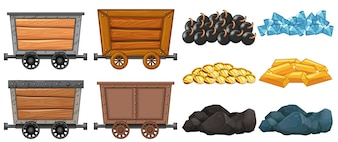 Collection set mining cart granite cargo