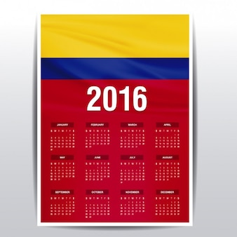 Colombia calendar of 2016