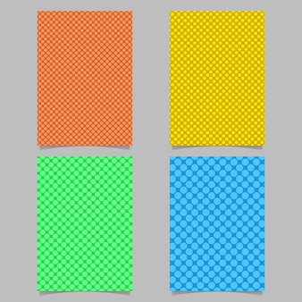 Color dotted cover background template set - page background design with circle pattern