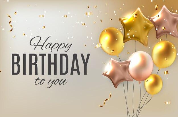 Color glossy happy birthday balloons greeting  illustration