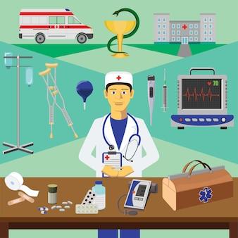 カラーベクトルのクリップアート。インフォグラフィックス教育。医師の職業