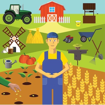 Color vector clip art. Infographics education. Profession of the farmer