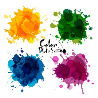 Color watercolor blot collection