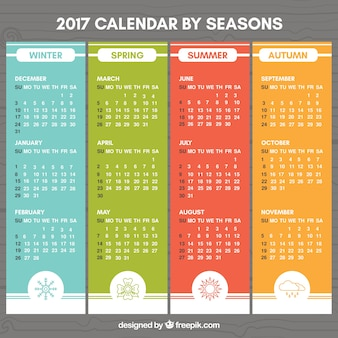 Colored 2017 calendar with drawings of the seasons