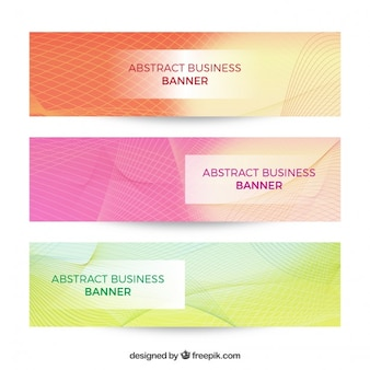 Colored abstract business banners with lines