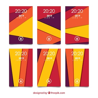 Colored abstract shapes wallpaper set for mobile