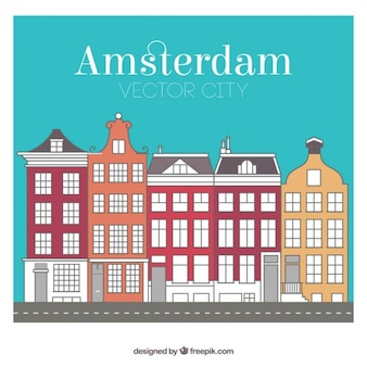 Colored Amsterdam city buildings
