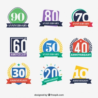 Colored anniversary badges