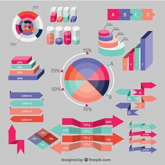 Colored arrows and infographic elements set