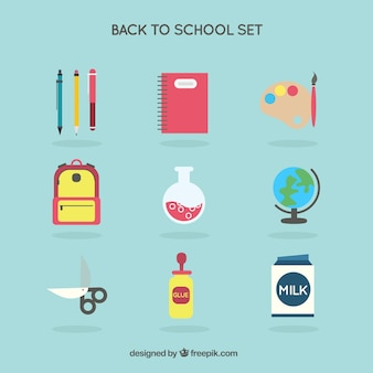 Colored back to school icons set