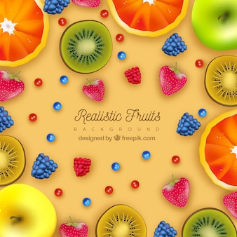Colored background of fruits in realistic design