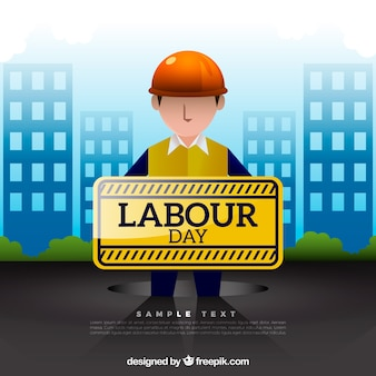 Colored background of man with sign for worker's day