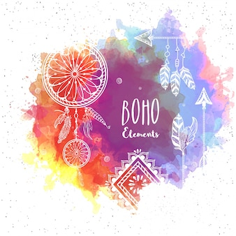 Colored background with boho elements