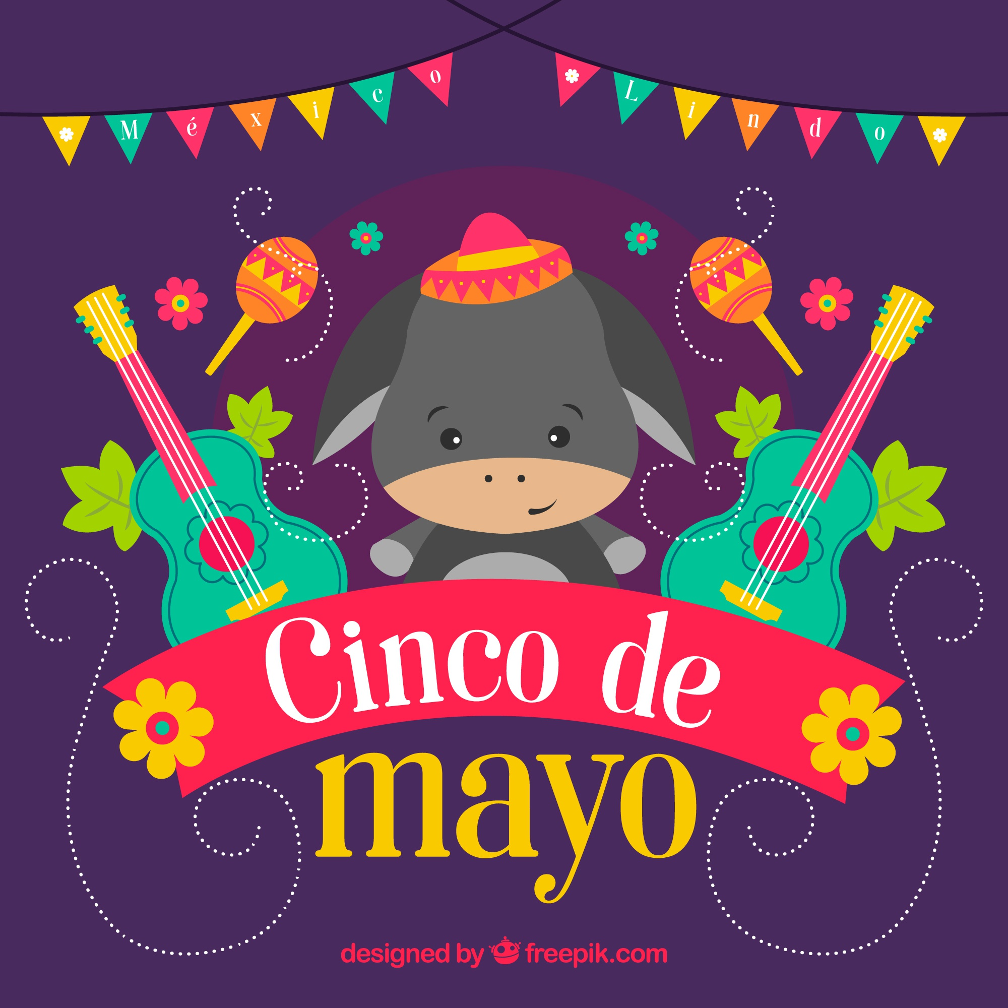 Colored background with donkey and guitars for cinco de mayo